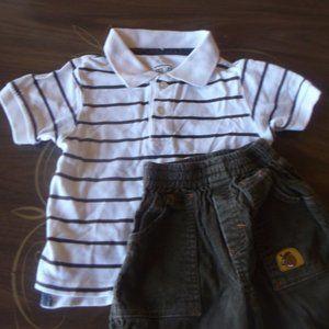 White Polo Shirt and Brown Corduroy Pants Boy 24 m